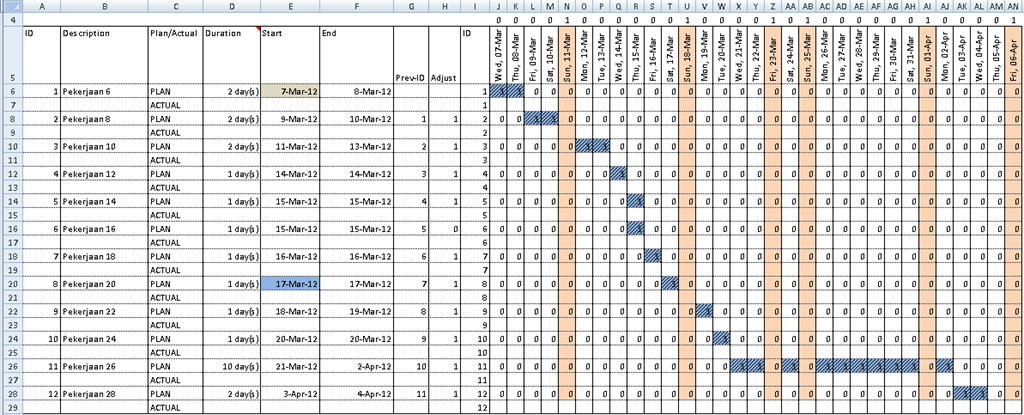 timetable in excel