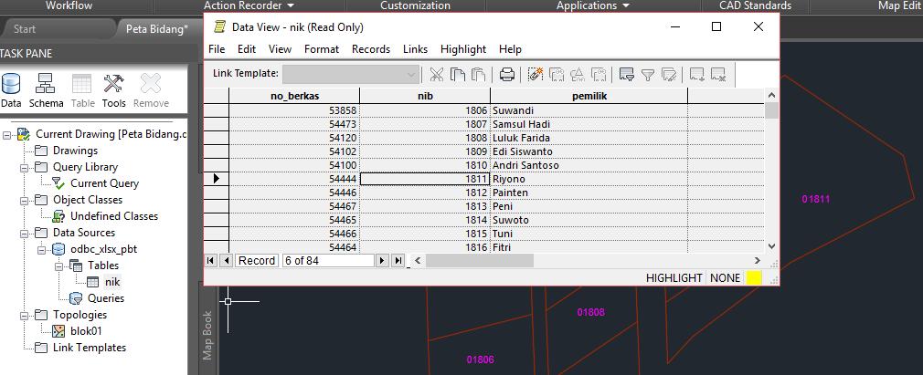 CAD-MAP-003]: Menghubungkan Excel Database ke Topology di
